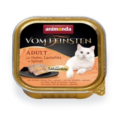 ANIMONDA VOM FEINSTEN 100g. su vištiena, lašiša ir špinatais.