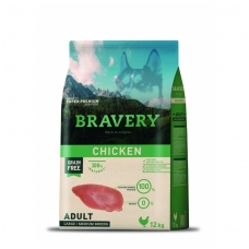 BRAVERY ADULT CHICKEN LARGE/MEDIUM BREEDS - 12KG (BEGRŪDIS, HIPOALERGINIS) šunų maistas