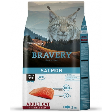BRAVERY 7 kg SALMON for ADULT CAT STERELIZED