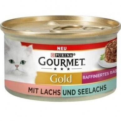 GOURMET GOLD Refined Ragout 85 g. su lašiša ir ledjūrio menke padaže.