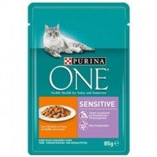 PURINA ONE 85 g SENSITIVE su vištiena ir morkomis
