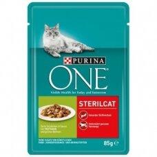 PURINA ONE 85 g STERILCAT su kalakutiena ir žaliosiomis pupelėmis