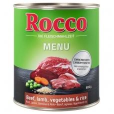 ROCCO MENIU ADULT 800 g su Jautiena, ėriena, daržovėmis ir ryžiais