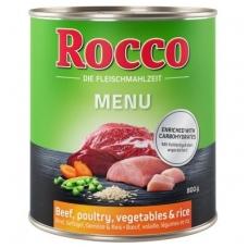 ROCCO MENIU ADULT 800 g su Jautiena, paukštiena, daržovėmis ir ryžiais
